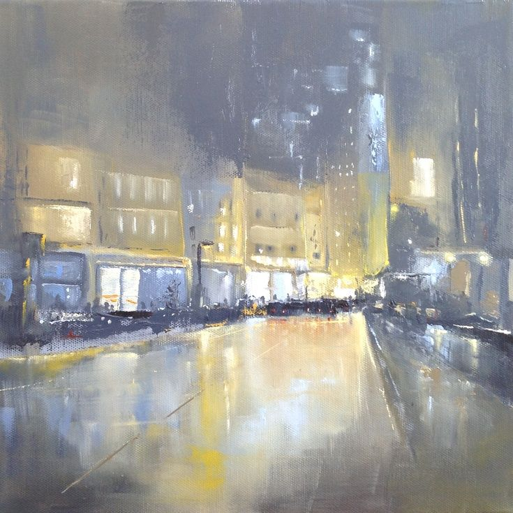 ARTFINDER: City Study #2 by Dan Wellington - No.2 of 5 in the 'City Study' collection. A study of a London street, atmospheric and gritty. Car and street lighting reflecting off the wet roads. Painted...