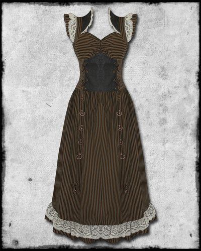 The 25 best victorian corset dress ideas on pinterest victorian banned long black brown striped copper lace steampunk vtg victorian corset dress gumiabroncs Choice Image