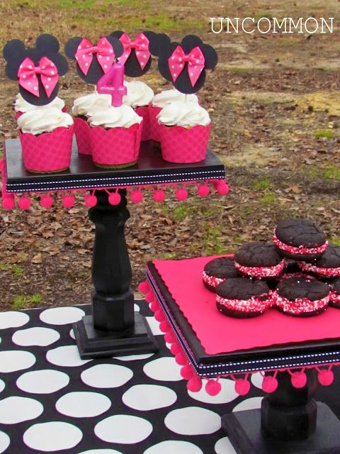 """DIY: Pretty Cake Stand with Pom Poms Tutorial ♥ Supplies: *Furniture Legs *Rectangle or Square Wood (1"""" Thick) for the Top *Smaller Square Plaque for the Base *Drill and Drill Bits *Spray Paint *Screws *Pom Pom Trim"""