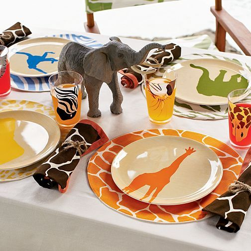 My nephew would LOVE LOVE LOVE these animal print plate sets with matching printed napkins tied & 25 best Madd for Animal Print images on Pinterest | Animal prints ...