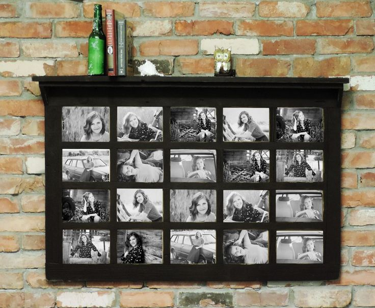 barn window multi picture frame with shelf homesteader style fits 20 5x7 pictures - Window Collage Frame