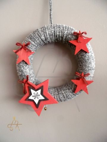 Handmade Christmas Wreath-Χειροποιητο πλεκτο στεφαν