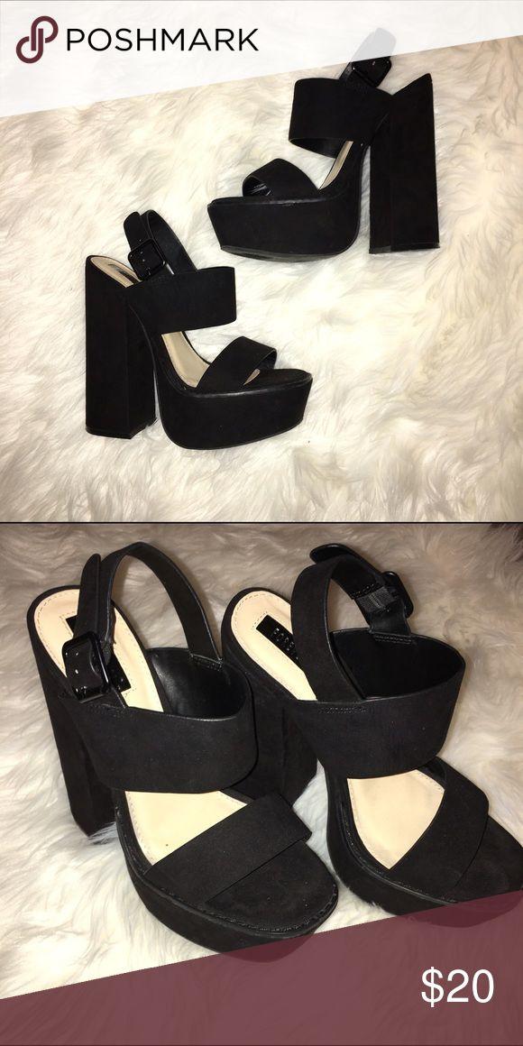 Black chunky platform heels Thick heel, only worn once. Nasty gal for exposure Nasty Gal Shoes Heels