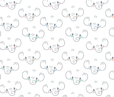 Cute Elephant Face fabric by nossisel on Spoonflower - custom fabric