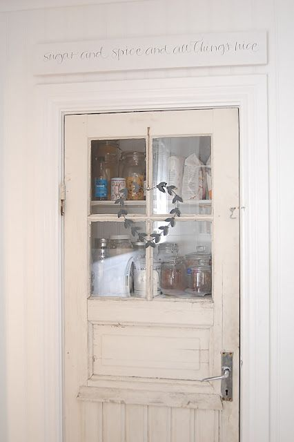 Pantry door~ Double door though and glass to match cabinets. possible color...