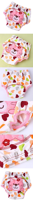 Easydeal Toddler Baby Cotton Cartoon Animal Waterproof Training Pants Kids Potty Diaper Nappy Underwear (100:Weight Advice-16kg, kitten)