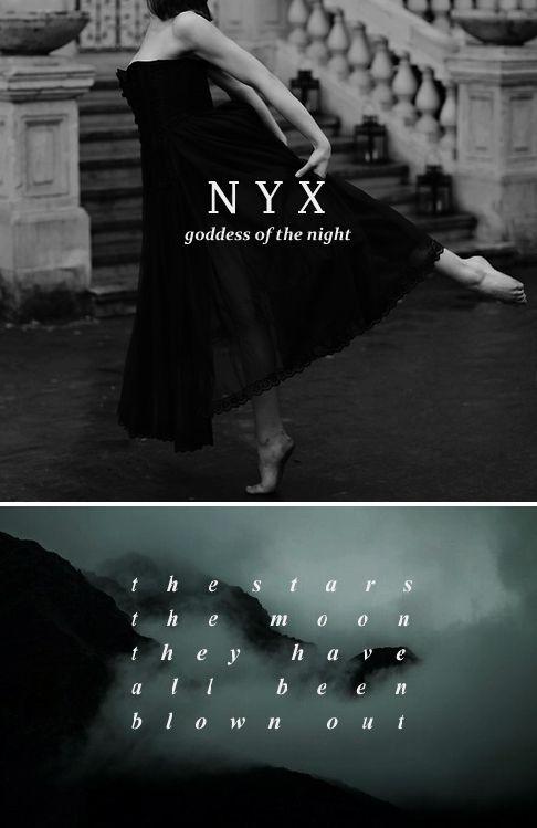 Nyx / Νύξ: fille de Chaos, la personification de la nuit /Mère  d autres divinités personifiées comme Hypnos et Thánatos /