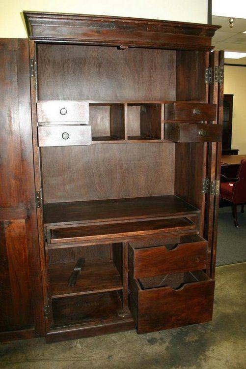 armoire chest hidden computer desk drawer cabinet