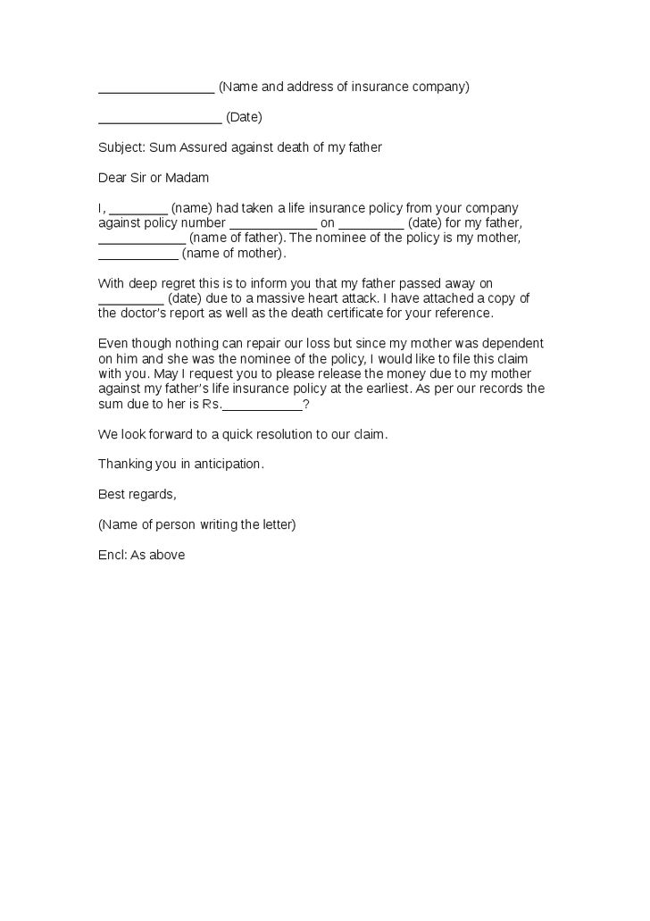 Letter Template With Sample Notice Insurance Claim Claims