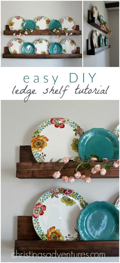 Simple DIY ledge shelf tutorial - this will take about 30 minutes & less than $20! Such a great project to add farmhouse style - decor can be easily changed out every season too!