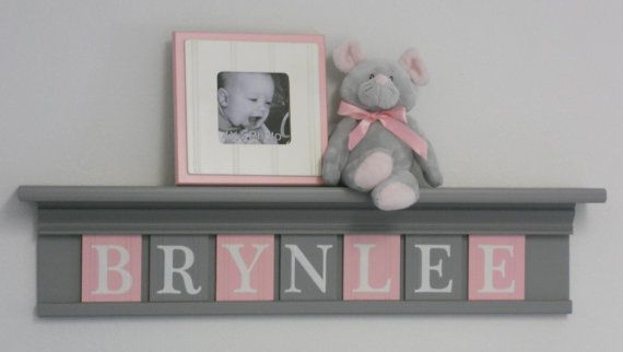 "Pink and Gray Nursery Girl Wall Decor 30"" Shelf - Sign With 7 Wood Letters Custom for  BRYNLEE"