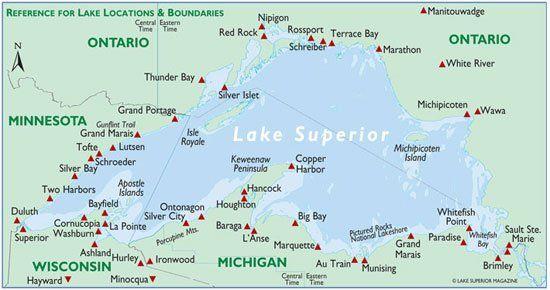 Map of Lake Superior WaterFalls places to visit Pinterest Lake