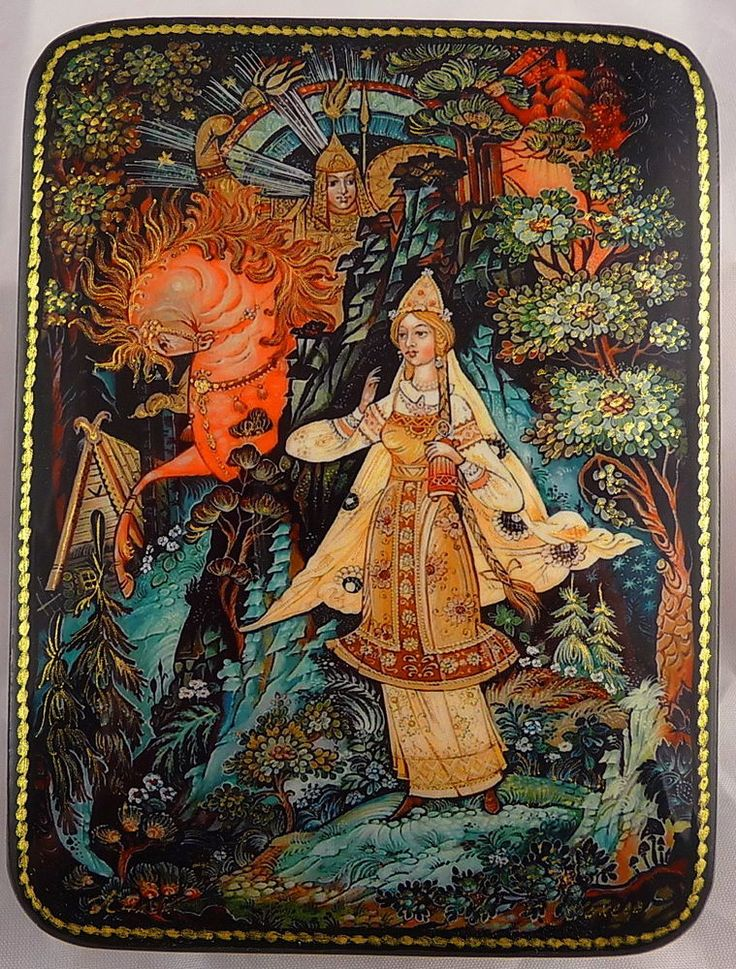 "LACQUER BOX PALEKH RUSSIA ""VASILISA THE BEAUTIFUL"" fairy tale signed #Palekh"