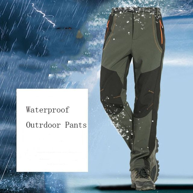 Outdoor Sports Trousers Autumn Winter Fleece Thermal Camping Pants Windproof Breathable Waterproof Hiking Skiing Trousers S Camping Pants Sports Trousers Pants