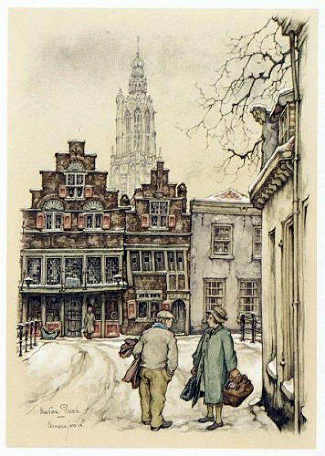 't Havik in de sneeuw, gezien vanuit de Bloemendalse binnenpoort. door Anton Pieck.