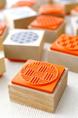 Rubber stamps of a traditional Japanese design