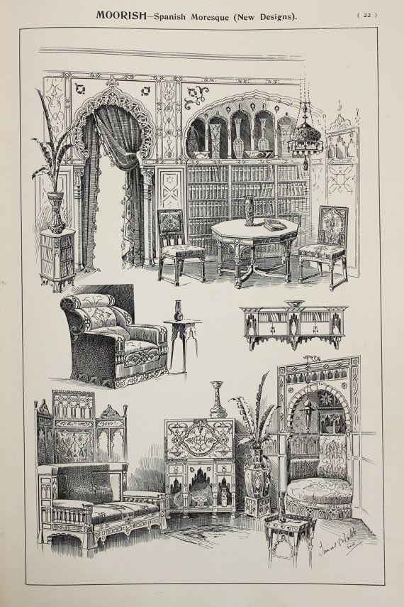 Moorish Furniture Designs Large Antique Black & by PaperPopinjay