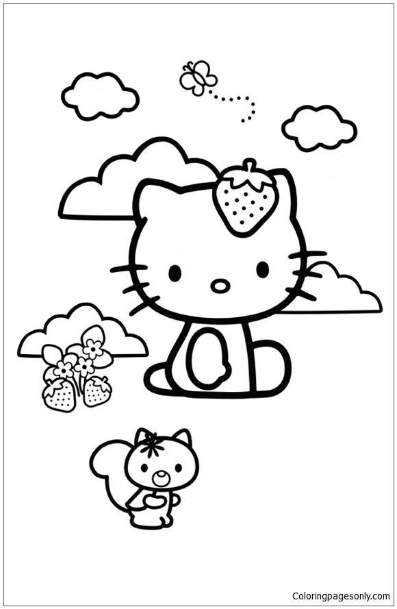 Hello Kitty Loves Strawberries Coloring Page:  http://coloringpagesonly.com/pages/hello-kitty-loves-strawberries