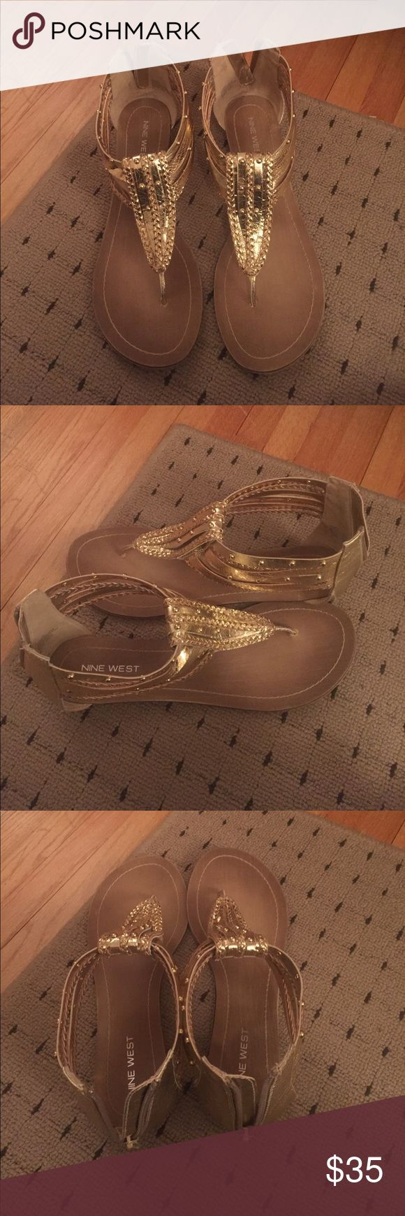 Nine West women's gladiators sz 9.5 gold Price drop!⚡️Nine West women's gladiators sz 9.5 color gold zip up in the back of the sandal Nine West Shoes Sandals
