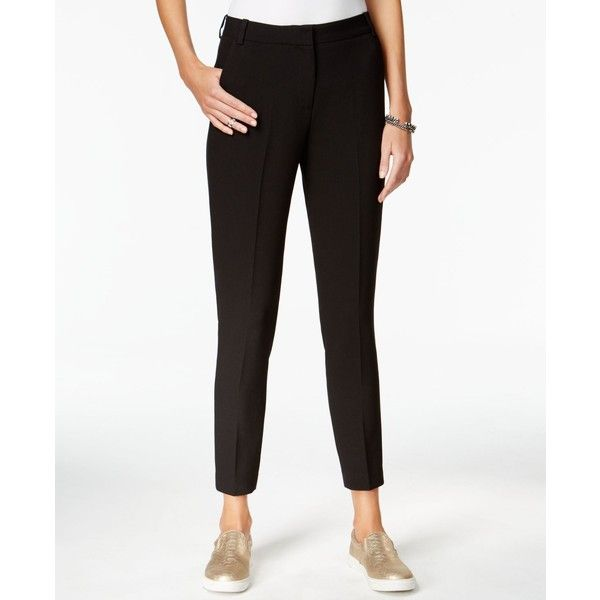 Armani Exchange Straight-Leg Trousers ($55) ❤ liked on Polyvore featuring pants, solid black, armani exchange, wet look pants, straight leg trousers, armani exchange pants and shiny pants