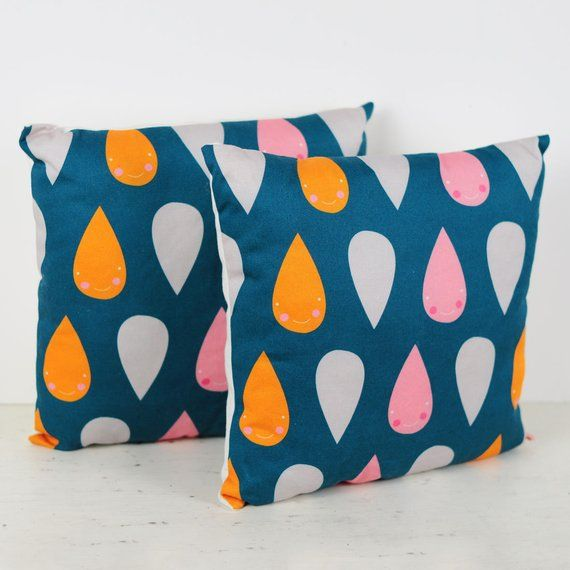 Decorative Throw Pillow For Kids Room In Dark Blue With Happy Rain
