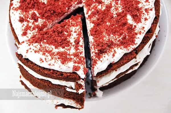Tort Red Velvet, Red Velvet Cake, Red Velvet, ciasto z kremem, krem śmietankowy, najsmaczniejsze.pl