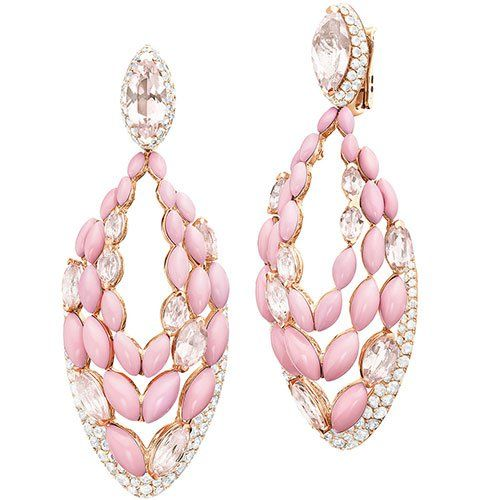 de Grisogono ~ Melody og Colours earrings, set with opals, morganite and white diamonds