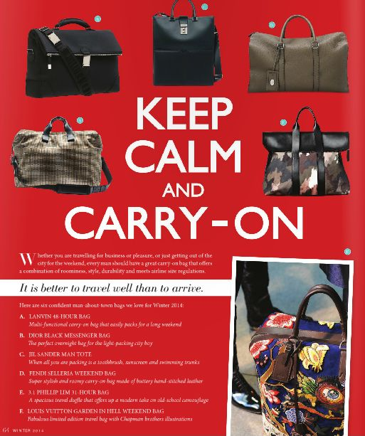 Keep Calm and Carry-On inside NICHE Winter issue   Read online here:  http://www.nichemagazine.ca/digital-editions/winter-2014/