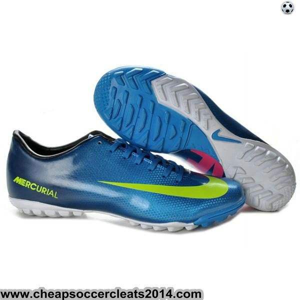 Discount Cleats Men 2012 2013 Nike Mercurial Victory IV TF Soccer Cleats in  Blue Green Pink