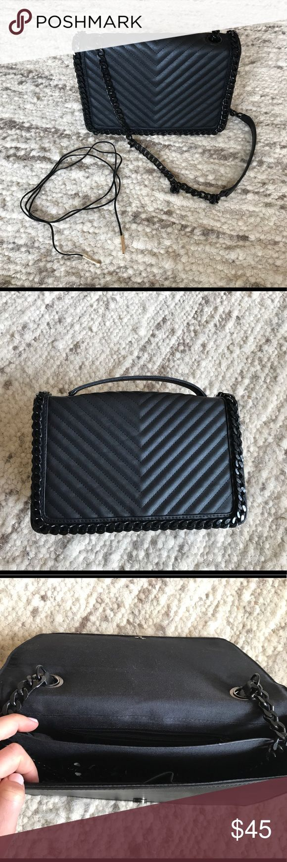 Aldo black cross body bag + 🎁Gift Black Choker 🎁 Georgeous black Aldo bag Cross body Gentry worn Chain has an option to be hidden - but not when wearing ! 🎁Gift: Black soft material choker with gold details 🎁Make me an offer (fair one), feel free to ask questions Aldo Bags Crossbody Bags
