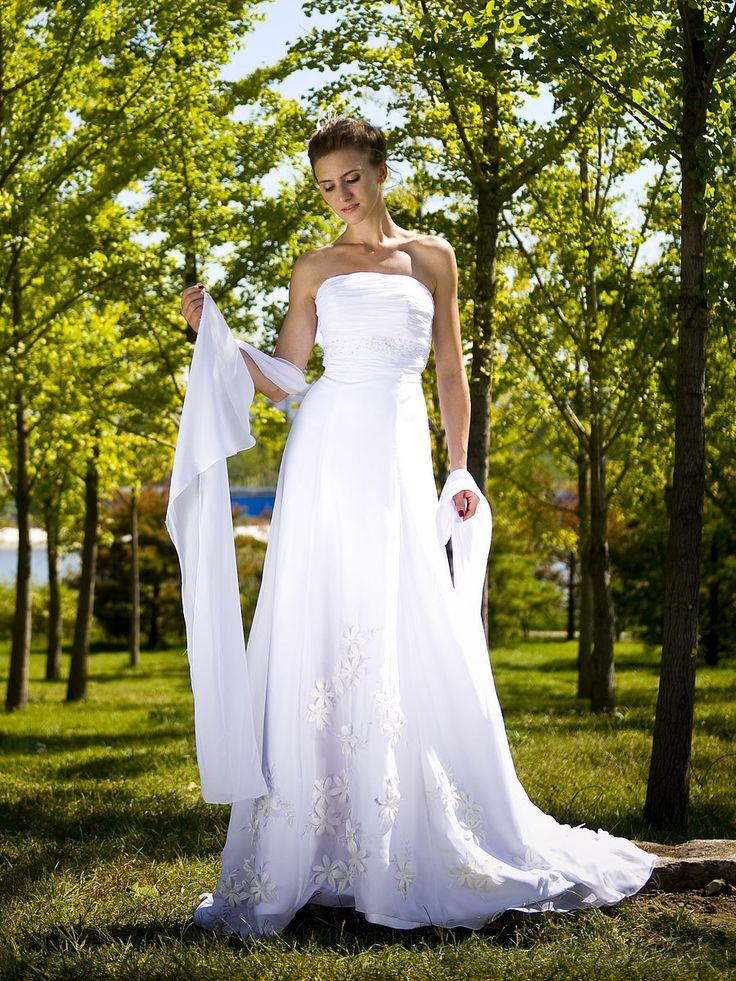 $379.99 Strapless Organza Wedding Gown with Chapel Train #wedding #dress