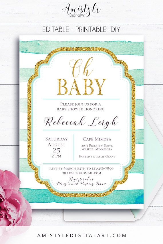 Mint Baby Shower Invitation, for baby girls and boys - with modern and stylish mint watercolor stripes embellished gold glitter by Amistyle Digital Art on Etsy