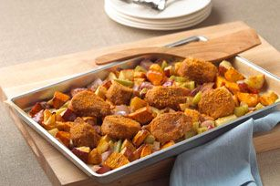 Tuscan-Roasted Vegetable & Pork Tenderloin Bake recipe  I sometimes substitue with white potatoes, sweet potatoes and carrots.  Use a good cooking apple like Granny Smith, Honeycrisp, Jonagold or McIintosh.