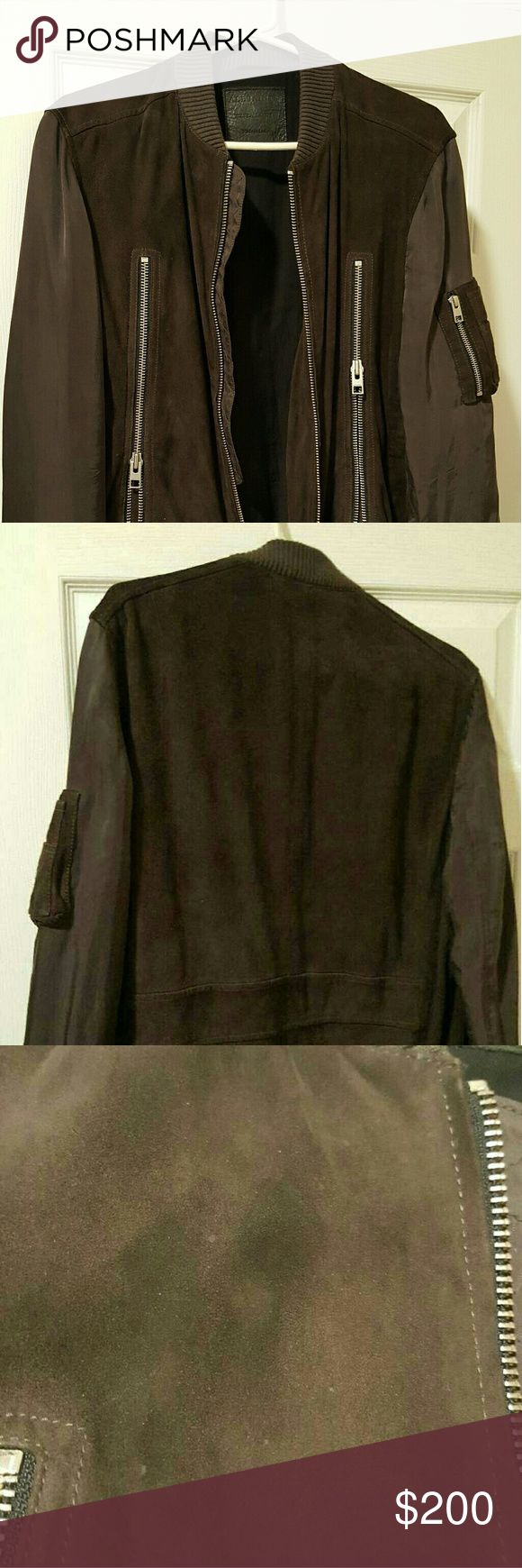 All Saints Men's XL Jair Leather Suede Bomber Originally  $409, asking for a little less than half the original cost. There is a very small smudge on the front, but you should be able to get that out with a dry cleaning service. Photos included. All Saints Jackets & Coats Bomber & Varsity