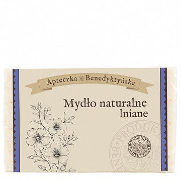 Mydło naturalne lniane 130 g - Produkty Benedyktyńskie    Mydło naturalne lniane zostało stworzone z naturalnych olejów roślinnych i ekstraktów ziołowych. Dzięki zawartości oleju lnianego mydło naturalne lniane wspaniale ...