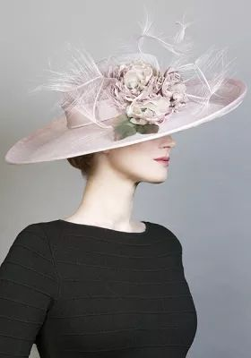 Rachel Trevor-Morgan :: Pale pink sidesweep hat with flowers and ostrich