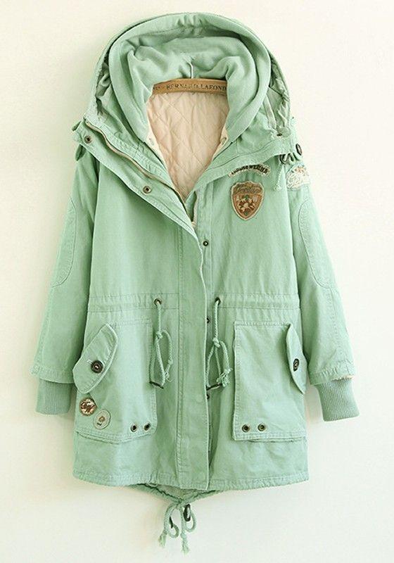 Thinking of Spring! Mint Green Plain Drawstring Cotton Blend Padded Coat #mint_green #fashion