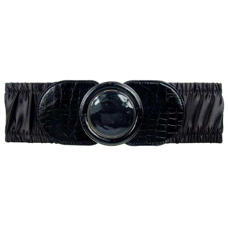 Black enamel round buckle shirring stretch belt