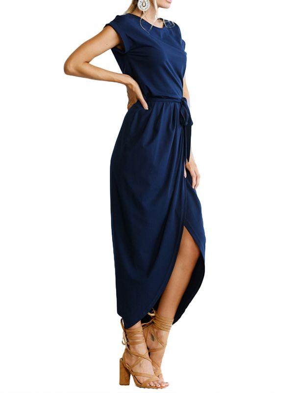 81bb82ca7aec DYMADE Women's Short Cap Sleeve Plain Dress Front Slit Summer Long Maxi  Dress#Cap,