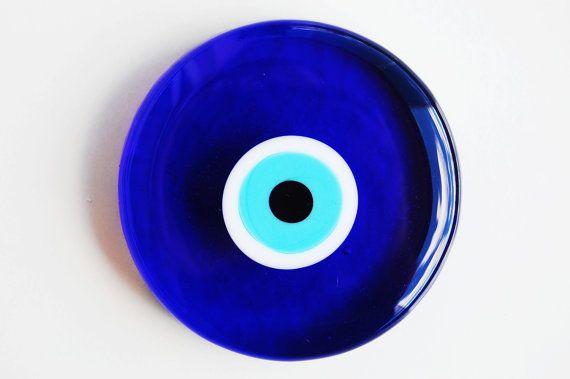 Circle Glass Evil Eye Paperweight by TheGrandBazaar on Etsy, $12.50