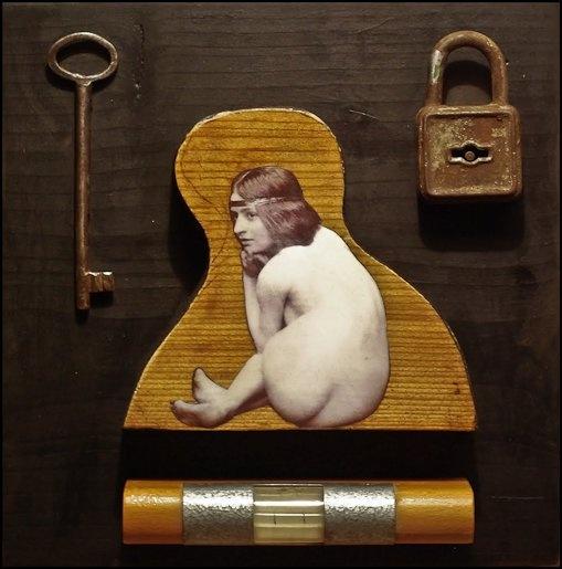""" Nude level ""  - collage on wood -   Artist: Daniel Loagăr"