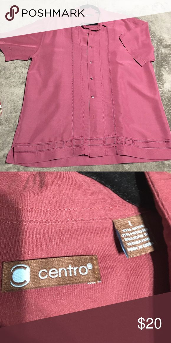 "Men's Charlie Sheen Cuban Button Down Shirt Burgundy color in brand new condition no rips or stains, collar button down, approx 23""w x 28""h centro Shirts Casual Button Down Shirts"
