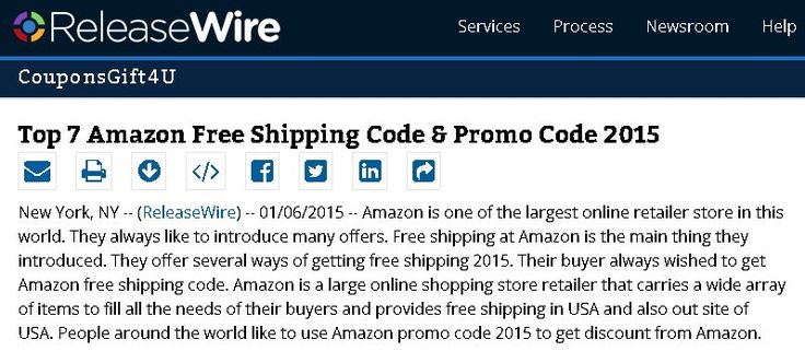 Visitors get Amazon free shipping codes. All Amazon promo code 2015, coupons, coupon code & promotional code update on daily basis. http://www.releasewire.com/press-releases/amazon-free-shipping/amazon-free-shipping-code/release-444037.htm