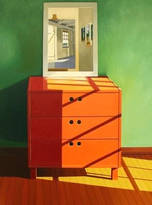 Linda Pochesci - Reflections II 2010. orange chest of drawers and mirror