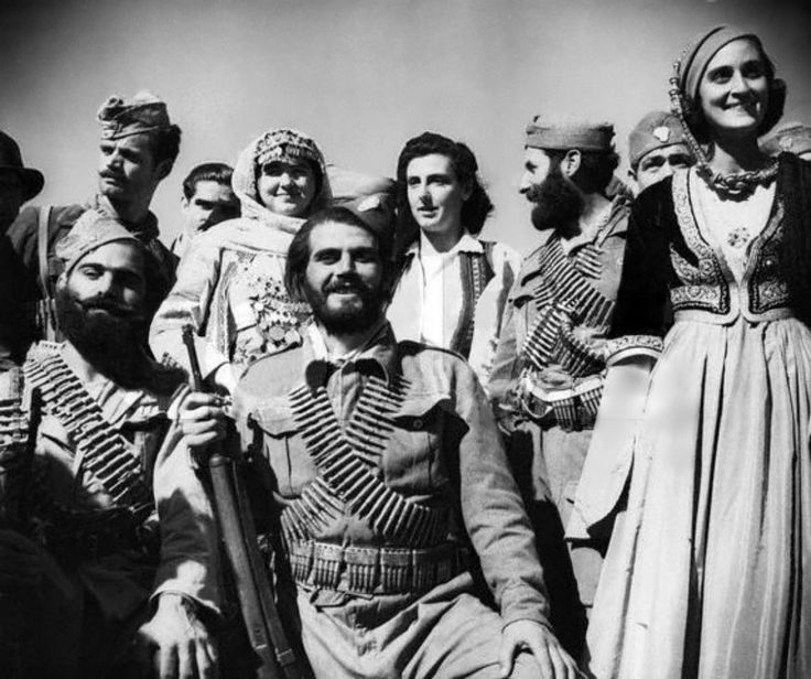 Portrait of Greek partisans, members of the Cretan Resistance. The Cretan Resistance was an armed movement against the occupying forces of Germany and Italy by the residents of the Greek island of Crete - part of the larger Greek Resistance. For the first time during the war, attacking German and Italian forces in Crete faced a valiant and violent resistance from the local population. Cretan civilians and guerillas picked off paratroopers or attacked them with knives, axes, or scythes.