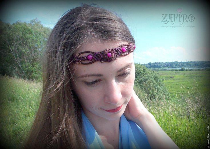 """Купить Диадема """"Лютиэн - чаровница"""" с натуральными камнями, бохо, тиара - диадема, диадема эльфийская"""