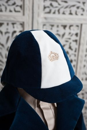 """Funny hat for a boy christening, matching the  """"Thomas"""" outfit."""