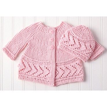 "Mary Maxim - Side to Side Cardigan and Hat - 3-6, 9-12 months (18, 20"")"
