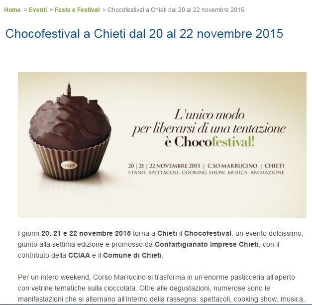 Ci saremo anche noi. Vi aspettiamo. Tratto da http://www.mondoeventiabruzzo.it/events/chocofestival-a-chieti-dal-20-al-22-novembre-2015/