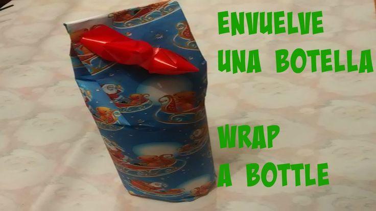 COMO ENVOLVER REGALO FORMA DE BOTELLA/HOW WRAP A BOTTLE